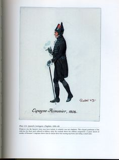 Foreign Troops: Plate 124: Spanish Contingent, Chaplain, 1806-08. Lead Soldiers, Toy Soldiers, Napoleonic Wars, Quick Sketch, Military History, Military Fashion, Troops, Spanish, Childhood