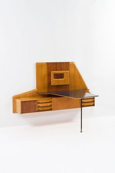 Gio Ponti; Desk with Integrated Wall-Mounted Office, 1950.