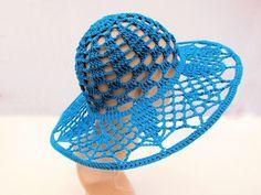 Crochet hat, wide brim hat, dressy hat, church hat, derby hat, lace hat, teal hat, summer hat, cloche hat. $42.00, via Etsy.