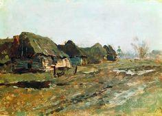 Левитан Постой в деревне1890-еКартон, масло14,8 x 20,3Пермская государственная художественная галерея