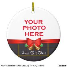 Pearson Scottish Tartan Christmas Photo Double-Sided Ceramic Round Christmas Ornament