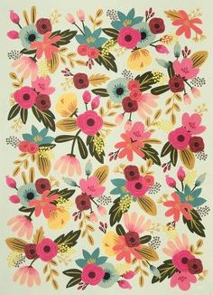 This beautiful floral wrapping paper features colorful pink, yellow, blue, and red blooms against a light mint background. A lovely design from Rifle Paper Co. that makes for elegant gift wrap. Printe