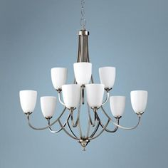 """Feiss Perry 32 1/2""""W Brushed Steel 9-Light Chandelier"""