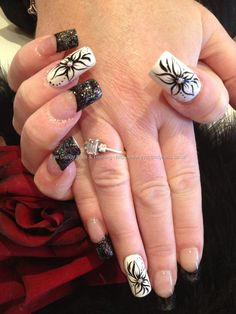 Freehand black and white nail art
