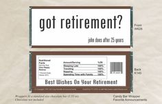 Party Favor Candy Bar Wrappers Retirement by FavoriteAnnouncement