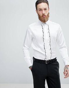 ASOS Regular Fit Shirt With Ruffled Bib