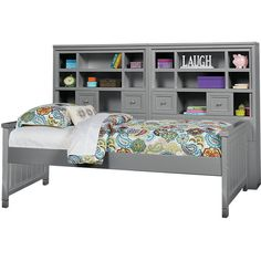 Cottage Colors Gray 5 Pc Twin Bookcase Daybed (62 CAD) ❤ liked on Polyvore featuring home, furniture, sofas, grey sofas, colored furniture, grey daybed, grey furniture and gray daybed