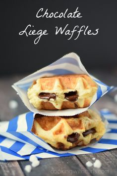Traditional Chocolate Liege Waffles stuffed with dark Belgian chocolate | cookingwithcurls.com