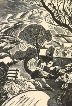 Snow on Radnor Hills' from a woodcut by Ian MacNab