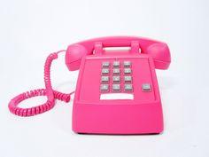Neon Pink Vintage Phone push button telephone.,via Etsy.