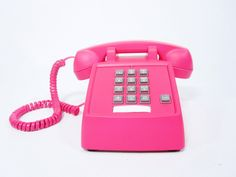 Neon Pink Vintage Phone push button telephone via Etsy.  >> It would be so easy to DIY this!