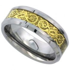 8mm Tungsten Wedding Band Gold Finish Celtic Dragon Inlay Beveled Edges Comfort fit, sizes 9 to 13.5