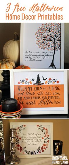 Halloween Decor: 3 Free Halloween Poem Prints. This is the perfect idea for free art for your Halloween home decor, an easy gift to give Halloween Prints, Halloween Projects, Halloween Diy, Halloween Poems, Halloween Home Decor, Halloween Cards, Halloween House, Holidays Halloween, Happy Halloween