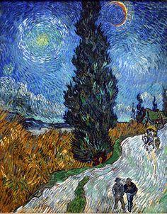 Nog een schilderij van Vincent van Gogh, het lijkt net alsof de sterren in de sterrenhemel aan het glinsteren en aan het bewegen zijn. Ook lijkt het net alsof de bomen op de achtergrond aan het bewegen zijn. Dat komt door de kronkelige manier waarop het is geschilderd.