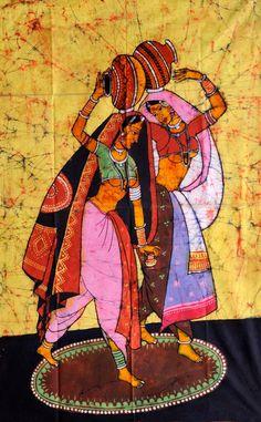 Rural Ladies with Water Pitchers, Batik Batik Painting On Cotton India Painting, Mural Painting, Fabric Painting, Figure Painting, Indian Women Painting, Indian Art Paintings, Batik Art, Batik Prints, Rajasthani Painting