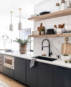 Sharing all the angles of this beautiful project designed by with home decor from their online store The ceramic lights are our Tumwater Large pendants. Home Decor Kitchen, Kitchen Interior, New Kitchen, Kitchen Dining, Earthy Kitchen, One Wall Kitchen, Nordic Kitchen, Scandinavian Kitchen Cabinets, Industrial Style Kitchen