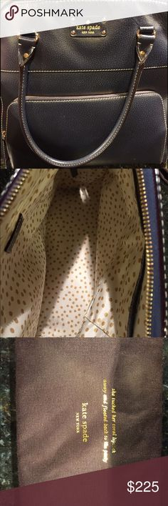 Kate Spade Navy Wellesley Large Maeda Handbag Large leather bag. Large enough to hold a laptop, tablet, books, or letter sized paper. Good condition. kate spade Bags Totes