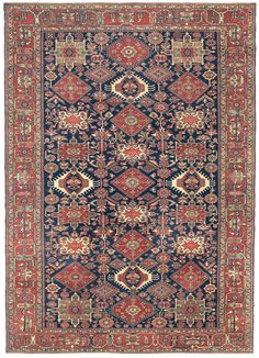 KARAJA - Northwest Persian, 10ft 0in x 14ft 0in, Circa 1910. A perfectly balanced, complex grid of tribal medallion designs forms the basis for this one-of-a-kind geometric Karaja carpet.