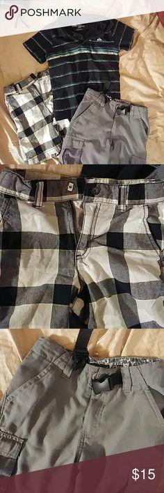 Bundle boys size 6 Quicksilver shirt, Hawk grey shorts & Gymboree plaid shorts...all in great condition Bottoms Shorts