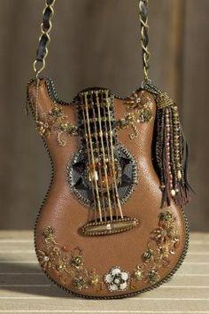 Mary Frances Hall Of Fame Guitar Carmel Brown Handbag Unique Purses, Unique Bags, Hippie Style, Purses And Handbags, Leather Handbags, Carmel Brown, Guitar Bag, Novelty Bags, Lolita