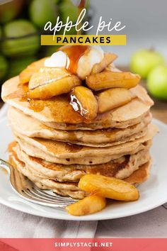 Apple Pie Pancakes - A spiced apple pancake recipe, topped with syrup poached apples and a spoonfuls of creamy, thick crème fraiche.  This is one glorious breakfast! Cooked Apples, Poached Apples, Apple Pancake Recipe, Apple Pie, Vegetarian Recipes, Cooking Recipes, Easy Recipes, My Favorite Food, Syrup