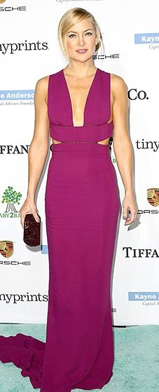 2b848f2d9ae02 Kate Hudson was one hot mama in a plunging magenta dress by Stella McCartney  and Tiffany