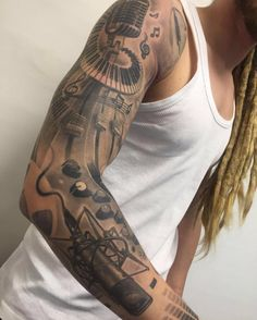 Image result for music sleeve tattoo