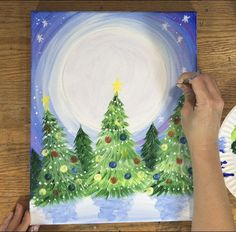 How to paint a Santa Sleigh silhouette in the sky on Christmas Eve night. This beginners painting tutorial will guide you step by step. Christmas Paintings On Canvas, Christmas Canvas, Christmas Art, Canvas Paintings, Canvas Painting Tutorials, Diy Canvas Art, Diy Painting, Beginner Painting, Acrylic Canvas