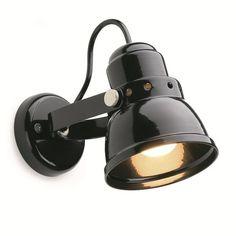 Wandlampje klein metaal zwart