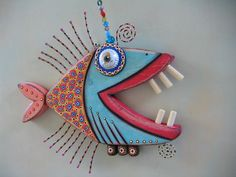 Twisted Piranha Original Found Object Wall Art by FigJamStudio