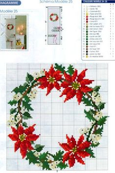 Pin by Sharon Rorex on needlework Cross Stitch Christmas Ornaments, Xmas Cross Stitch, Christmas Embroidery, Cross Stitch Flowers, Christmas Cross, Counted Cross Stitch Patterns, Cross Stitch Charts, Cross Stitch Designs, Cross Stitching
