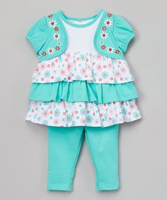 This Cockatoo Blue Floral Ruffle Swing Top & Shorts - Infant by Buster Brown is perfect! #zulilyfinds