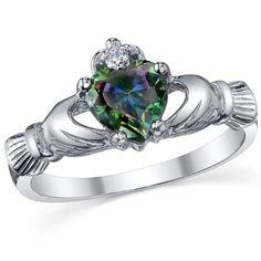 Sterling Silver 925 Irish Claddagh Friendship & Love Mystic Rainbow Topaz Heart CZ Ring Sizes 4 to 10  Sale:$19.99