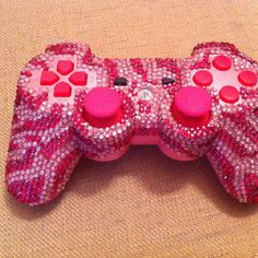 Pink rhinestoned play station controller