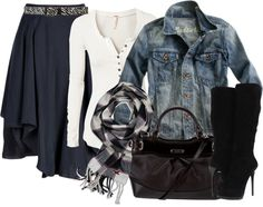 """""""outfit"""" by michelerussell on Polyvore, I really think the skirt and shirt would look good. In my opinion the jean jacket doesn't really match."""