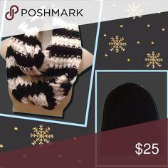🆕Scarf & Hat Bundle Aeropostale Scarf in Black/Winter White & Forever 21 Black Knit Beanie Aeropostale Accessories Hats