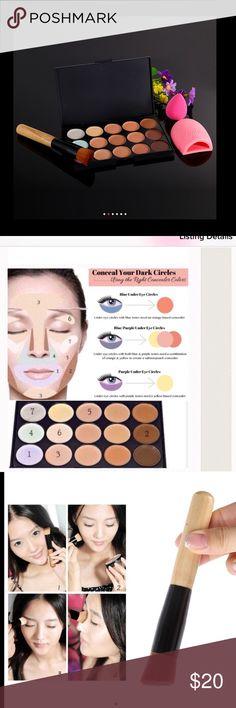 Bundle makeup set 15 Colors Concealer Palette + Makeup Brushes + Teardrop-shaped Sponge Puff  + Brushegg Primer Facial Concealer Contour Palette Makeup Concealer