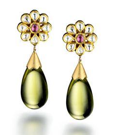 Madhuri Parson Lemon Quartz and Rose Cut Diamond Floret Earrings