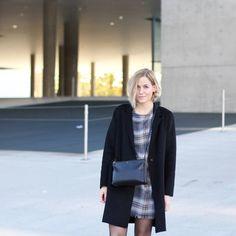 tifmys - Zara dress and coat & Céline trio bag.