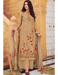 Beige palazzo kameez with dupatta. Work - All over digital floral print with resham embroidery work & digital printed dupatta. Kameez length is approximately is Inches. Kurti Patterns, Floral Patterns, Palazzo Suit, Kurta Designs, Embroidered Silk, Salwar Suits, Pure Silk, Indian Outfits, Fashion Pants