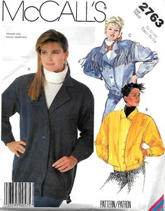 McCall's 2763 Misses Unlined Jacket Pattern, Size XS, UNCUT by DawnsDesignBoutique on Etsy
