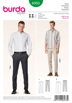 Burda B6933: Trendy, fitted, slightly hipster men's trousers. Either the business variant A with crease from lightweight wool. Or sporty Chinos, the popular variant B, without crease and from cotton fabrics.