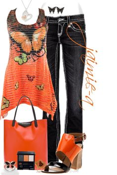 """Orange Butterfly"" by jaimie-a ❤ liked on Polyvore. Don't like the shoes though."