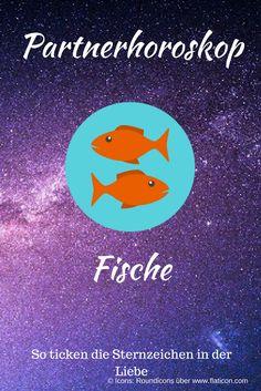 Partnerhoroskop Fische: Das sagen die Sterne über die Liebe! Abbildung des Sternzeichen-Icons auf Sterne-Hintergrund