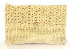 Shimmering Light Gold Crochet Evening Clutch Shoulder Bag or