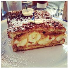 A great way to start the day-Banana & peanut butter stuffed french toast #bocaraton #breakfast #food #magazine #amazing #yummy #banana #peanutbutter #Elvis