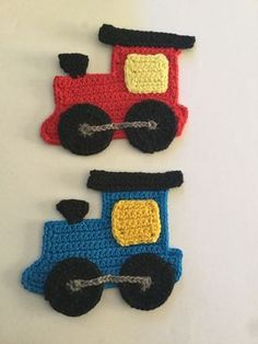 Free crochet train engine appliqué pattern with a how-to video tutorial.
