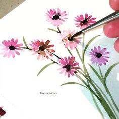 Watercolor Paintings For Beginners, Watercolor Art Lessons, Watercolor Landscape Paintings, Watercolor Cards, Floral Watercolor, Watercolor Illustration, Realistic Flower Drawing, Cute Flower Drawing, Flower Art