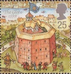 William Shakespeare - stamp, The Globe Theater Uk Stamps, Postage Stamp Art, Fauna, Stamp Collecting, Mail Art, Great Britain, Illustrator, Globe Theatre, Poster