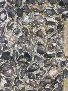Flint wall, typical building materials for the South coast Brick Wall Gardens, Building Construction Materials, Spring Hill, Building A House, Build House, Garden Buildings, House Wall, Home Photo, Flint Stone